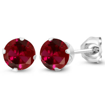 1.20 Ct Round 5mm Red Created Ruby 925 Sterling Silver Stud Earrings