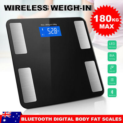 180KG Wireless Digital Bathroom Body Fat Scale Bluetooth Scales Weight BMI Water