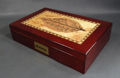 """10"""" Tobacco Leaf Marquetry Wooden Cigar Humidor Box Hinged Lid Case Montel Sign"""