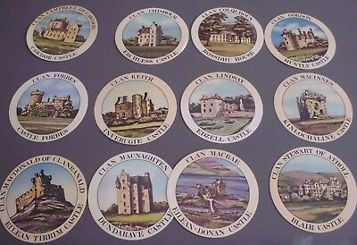 12 Teachers Scotch Whisky Clan Tartans and Castles Drinks Coasters