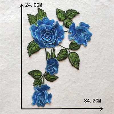 blue Roses craft sewing embroidery lace applique neckline accessory YL983