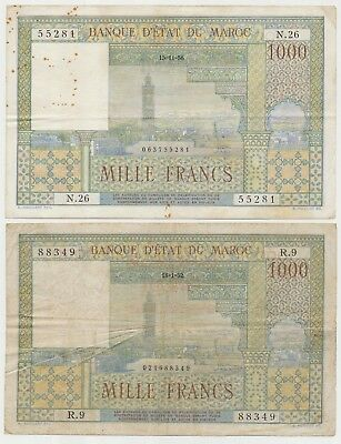 Morocco pair with 2 Banknotes 1000 Francs 1952 and 1956, P.47_F