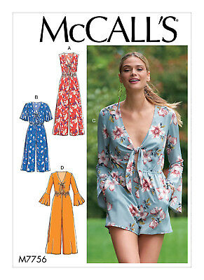 Mccall's Sewing Pattern 7756 Misses Sz 14-22 Loose Fitting Deep V-Neck Jumpsuits