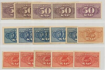 Latvia set with 16 Banknotes 5, 10, 25 and 50 Kapeikas ND(1920), P.9-12_F to XF