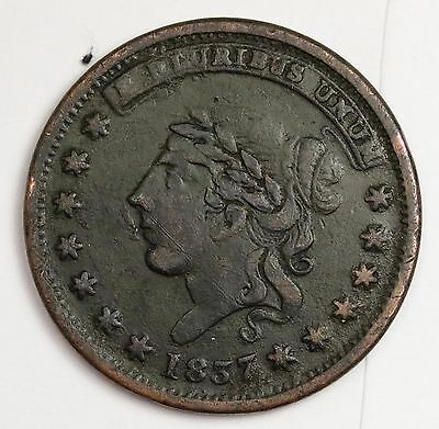 "1837 Hard Times Token.  ""Millions for Defense not one cent-  High Grade.  113715"