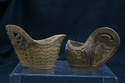 TWO Vintage Ceremonial Hand Carved KOVSH Shepherds Wedding Cups (MS143)