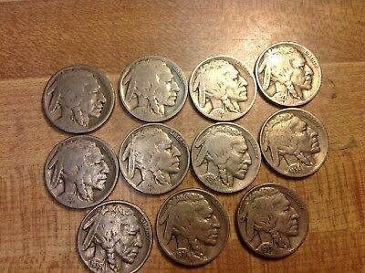 Lot Of 11 Buffalo Nickels VINTAGE United States Coin