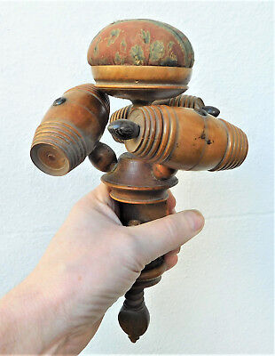 NO RESERVE Victorian Sewing Clamp Pin Cushion Vintage Antique Wooden Treen