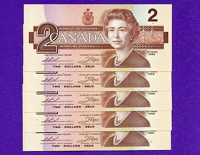 5 Canada 1986 2 Dollar Bank Notes UNC Consecutive S/N's EGK5307580 - 584