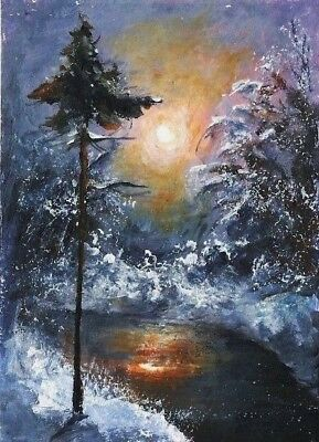 ACEO original Winter painting snow sunset river Christmas landscape sign