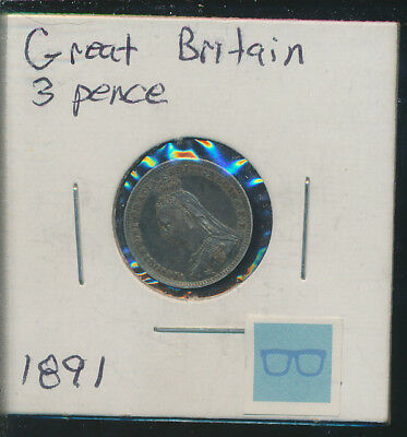 Great Britain - 1891 High Grade Silver 3 Pence - Dark Toned