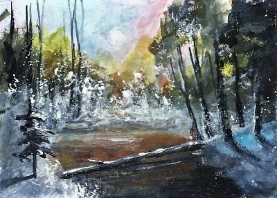 ACEO Winter painting original snow Woodland river landscape signed art card