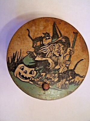 "Old Halloween Noise Maker - Vintage item - 4"" diam. Witch, Black Cats, Pumpkin"