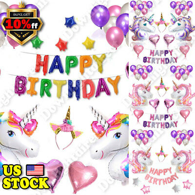 US Unicorn Happy Birthday Letter Star Foil Balloons Party Decoration Props