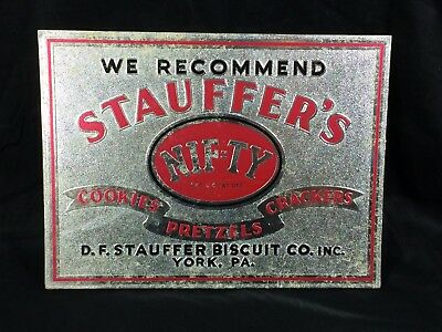 Stauffer's Biscuit Cookies Pretzels Crackers Sign York PA Vintage Nif-Ty