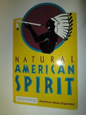 """Natural American Spirit Cigarette Tobacco Metal Tin Sign Yellow about 12"""" X 19"""""""