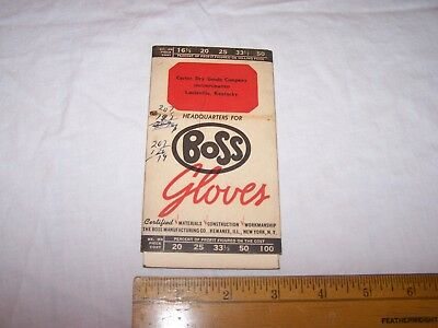 1936 BOSS GLOVES Profit Calculator CARTER DRY GOODS CO Louisville Kentucky