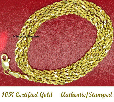 """10k Yellow Gold"", High Polished Rope Chain 10kt 3.0mm 30 ""  Hollow 7.7 GRAMS"