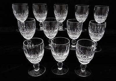 "Set Of 12 Waterford Crystal, Colleen Short Stem Claret Wine Glasses 4-3/4"" Tall"