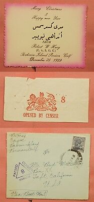 1939 India Bahrain Overprint Boat Mail To Usa Wwii Censored + Holiday Card