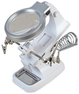 Illuminated Magnifier with Third Hand Clamp Tool & Soldering Iron Stand - ROLSON