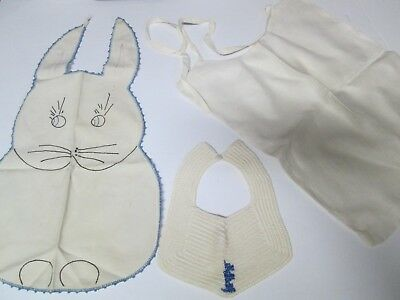 Lot of 3 Vintage Baby Bibs Embroidered Rabbit Knit w/ Scottie Dog & Linen
