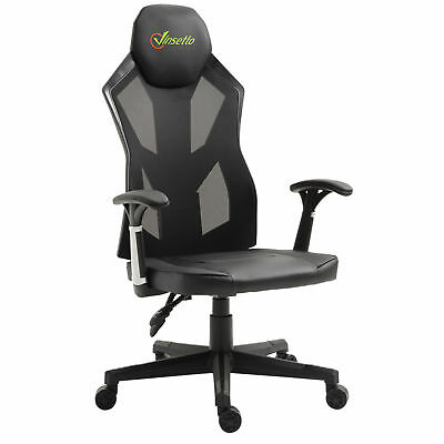 High Back Gaming Chair Racing Style PU Leather Mesh Ergonomic Swivel Black