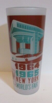 1964 - 1965 New York World's Fair Nywf Frosted Glass Tumbler Port Authority Bldg