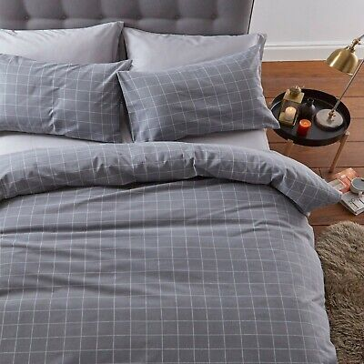 Silentnight Brushed Cotton Check Duvet Cover with Pillowcase Bedding Set, Smoke