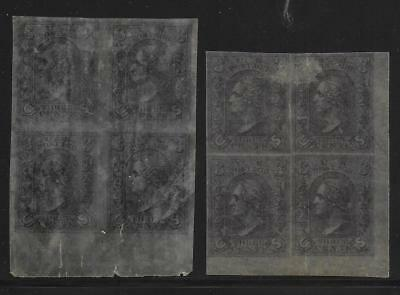 United States stamps 3cents Colour Proofs in Bloc of 4 rice paper MLH F/VF RARE!
