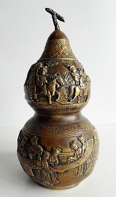 Extremely Rare Antique Chinese Bronze Double Gourd Vase - Seal Mark On Base