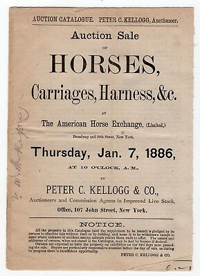 1886 Auction Catalog Horses, Carriages, Harness