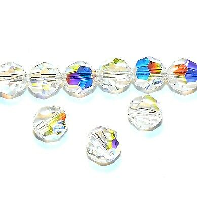SCR517 Crystal Clear AB 8mm Faceted Round Swarovski Crystal Beads 12pc