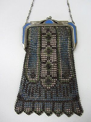 Antique Vintage Whiting & Davis Art Deco Beaded Metal Mesh Enameled Purse