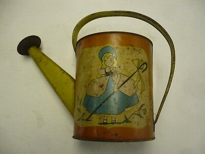 OHIO ART Vintage LITH TIN METAL CHILDS TOY WATERING SPRINKLER CAN -