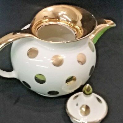 Mid Century Hall Teapot Gold Polka Dot Windshield 0698GL 6 Cup