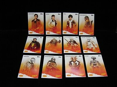 2018  Denny's Solo Star Wars Complete 12ct Card Set
