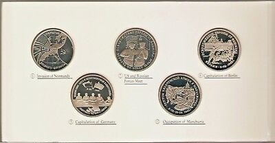 1991 - 1995 RUSSIA 3 ROUBLES PROOF SET of 10 Coins - WWII - SCARCE .