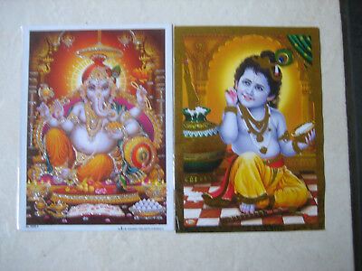 Two Gold Edged Posters Ganesh And Krishna