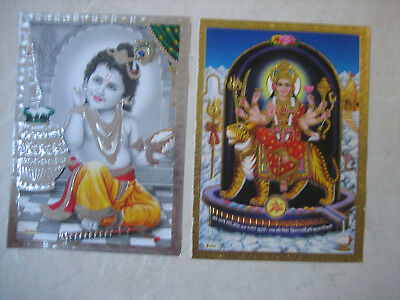 Two Gold /silver  Edged Posters.baby Krishna,durga