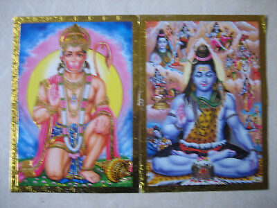 Two Gold Edged Posters Of Hanumanand Shiva