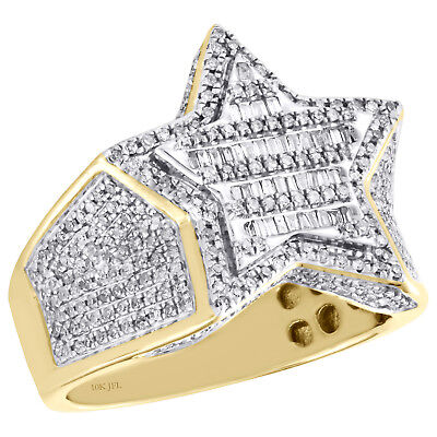 10K Yellow Gold Mens Baguette Diamond Tiered Star Shape Pinky Ring Band 1.16 CT.