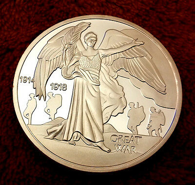 World War I Silver Coin Great King George Angel Soldiers England Germany History