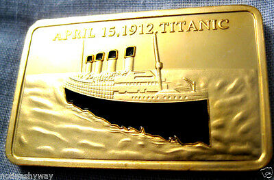 TITANIC Bar Gold Layered Ingot Ship Boat Sea Man Ocean Atlantic New York City U