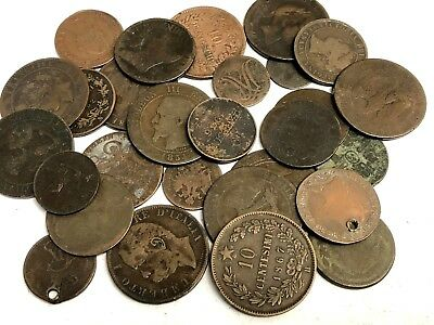 30 x 1800's dates World copper & bronze coins, Fun 1800s Foreign Collector Lot#2