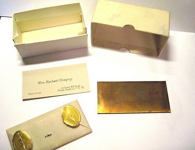 Vintage Calling Card with Copper Printing Plate & Original Box
