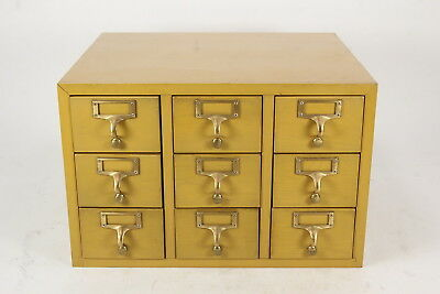 9 Drawer Gaylord Vintage Card Catalog Cabinet Blond Finish Index Card File