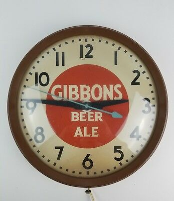 """Vintage Gibbons Beer & Ale Electric Wall Clock 13"""" Tested & Working Super Clean"""