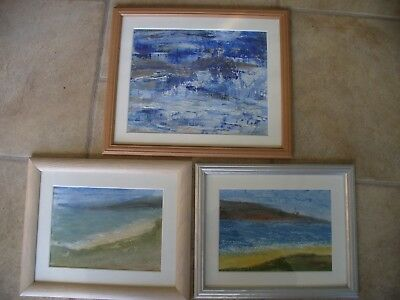 3 - Acrylic Mixed Media Seascapes on Paper selling by the artist signed & dated