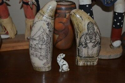 Vintage Scrimshaw Faux Resin Carved Sperm Whale Tooth Lot 3 pcs